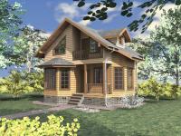 Проект этого небольшого дома из бруса весьма удачен