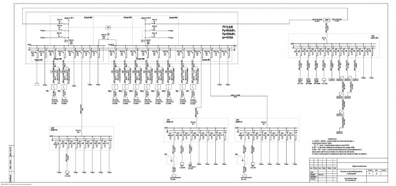 Меднолитейный цех.  Однолинейная схема электроснабжения.