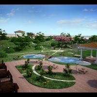 Визуализация завода (Ландшафтный дизайн, вид-1)