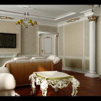 Интерьер спальни-кино в классическом стиле (вид на вход)