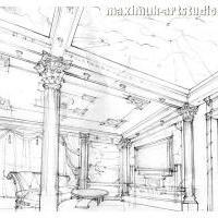 Эскиз зала в классическом стиле